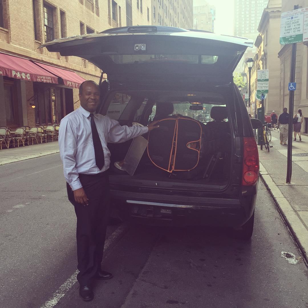 Check out my uber driver Jean! bestharpmoverever harpfitsinubersuv noparkingticket!